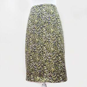 J. Crew Pencil Skirt Green Abstract Cheetah Print
